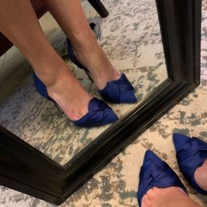 Royal blue satin heel